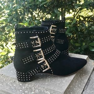 Topshop Black Suede Gold Buckled & Studded Boots